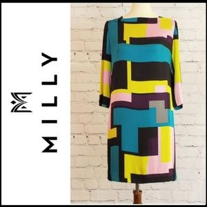MILLY OF NY Silk & Leather Geometric Dress 10